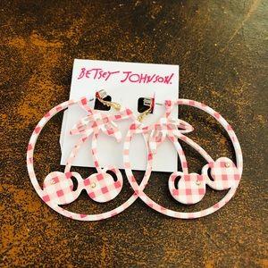 Betsey Johnson Pink Gingham Cherry Hoop Earrings